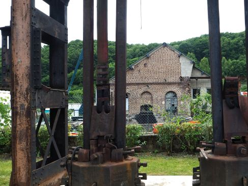 An old steam hammer in the grounds of the Ardennes metallurgy museum. The Meuse and Semois valleys are only green and peaceful because most of their local industry has closed down. Local unemployment stands at more than 50%