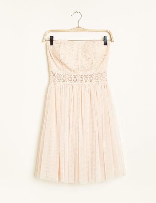robe bustier tulle et macramé rose nude jennyfer