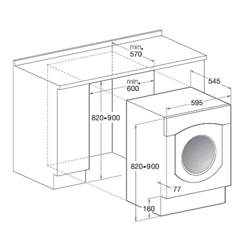 Ariston BHWD125GCC Fully Integrated Washer/Dryer Inox
