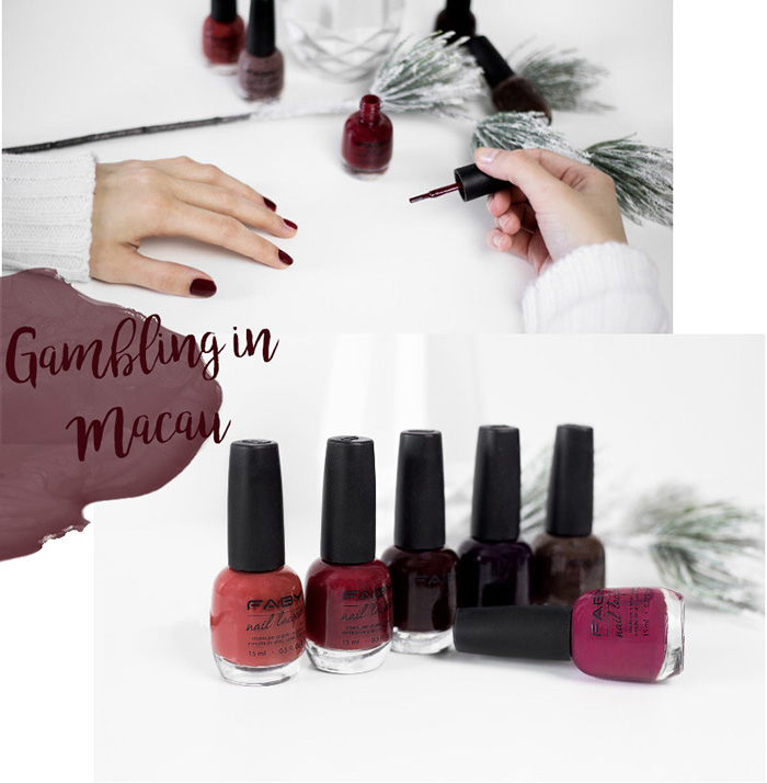 Faby Posh Collection, Nagellack, Luxury, Iconic Audrey, Rouge foncé, Very Faby People, Gambling in Macau, Bond Street is my house, Erfahrung, Test, Review, bezauberndenana.de