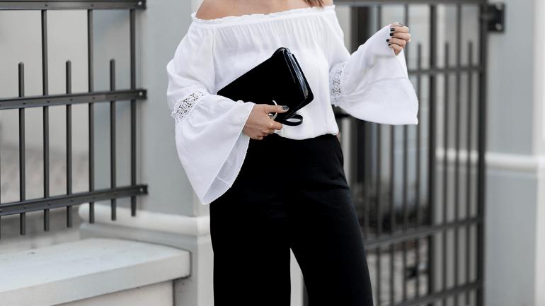 Outfit mit Culotte und weißer Off-Shoulder Bluse