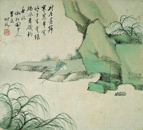 Nie przegap bardzo ważnego szczegółu tego obrazka: otóż mistrz moczy patyk w rzece.