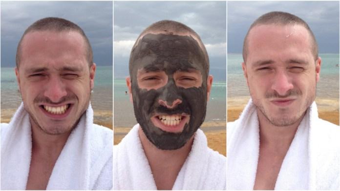 V Izraeli som skúsil bahno z mŕtveho mora. Toto je moja tvár PRED a PO