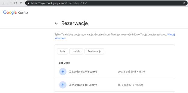 Obrazek przedstawiający historię rezerwacji w Google