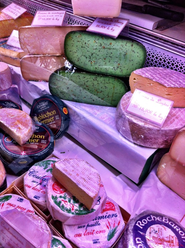 Cheese selection from Claude at the Saturday Market, Uzes