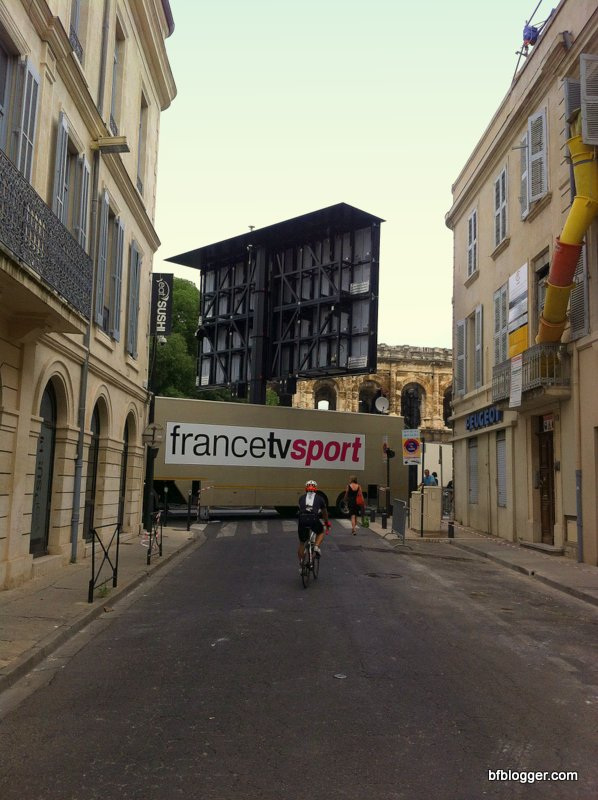Setting up the Tour de France finish line in Nimes on Sunday morning