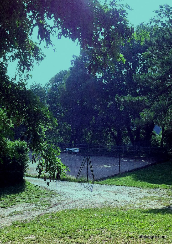 Public tennis courts and swimming pool