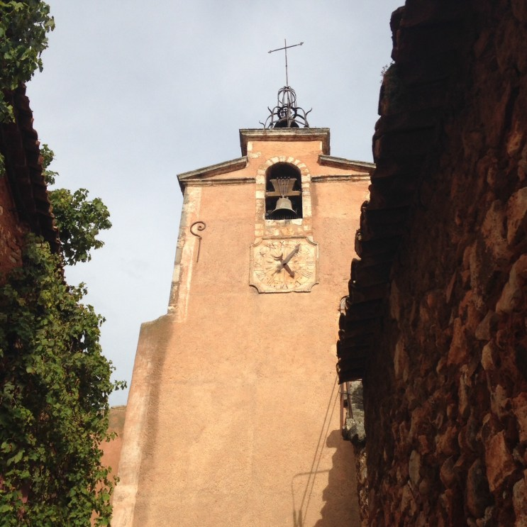 Landmark church and bell tower in Roussillon