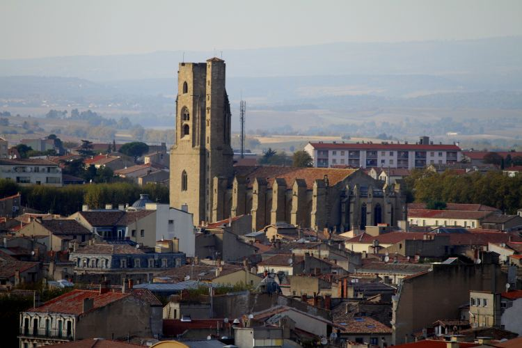 """A view of the """"modern"""" city below from the walled fortress of Carcassonne"""