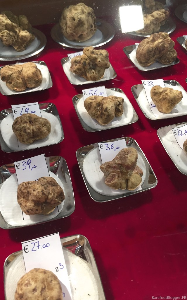 Sale of white truffles at Alba White Truffle Festival