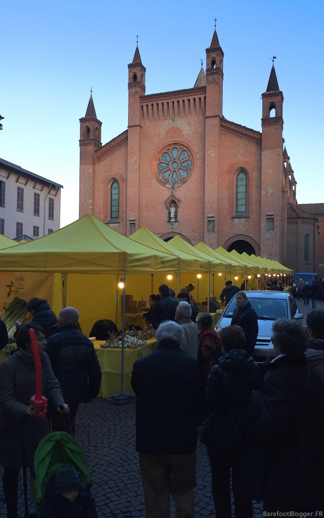 Visitors to Alba's White Truffle Festival filled the streets into the night.