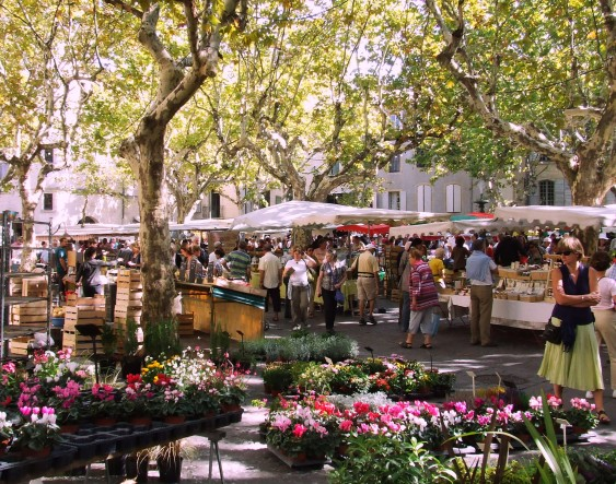 Market in Uzès - Photo by Peter Curbishley