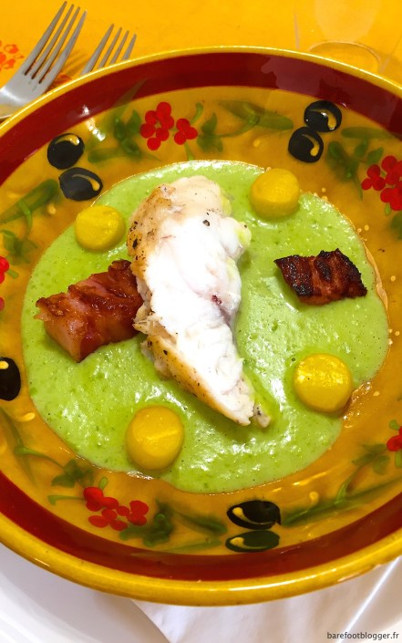 Monk fish with cream of peas, bacon and summer squash