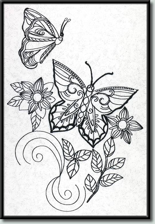 BFC0981 Fantasy Butterflies and Flowers Blackwork
