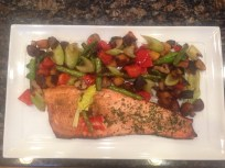 Half Old Bay and Half Italian Salmon with grilled veggies