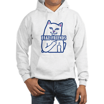 Cat Fuck Fake Friends Hoodie