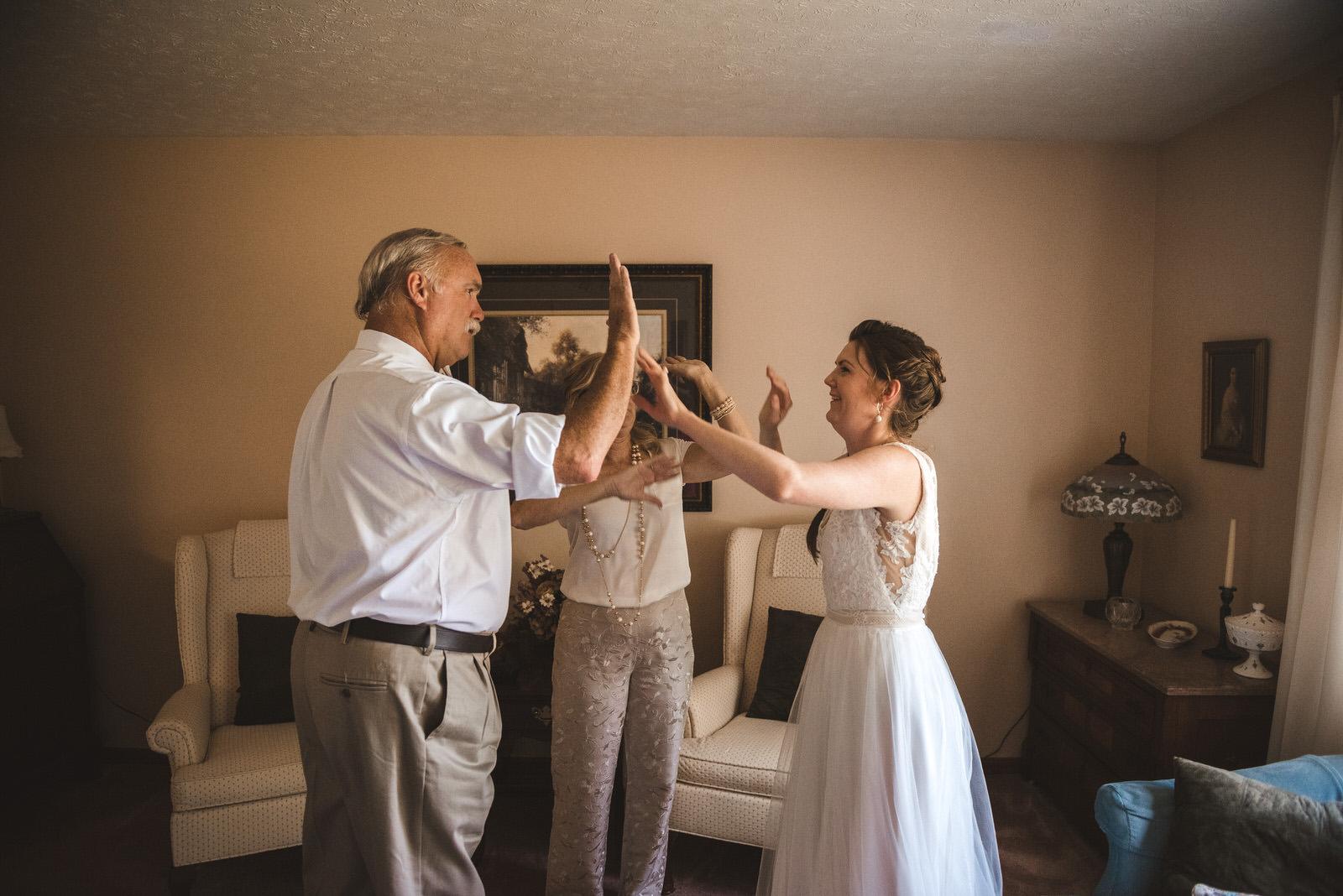 family preparing for wedding