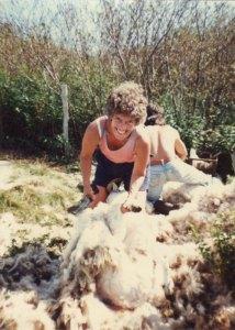 Anne Priest shearing on Blue Island Nova Scotia