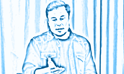 Musk thinking in blue