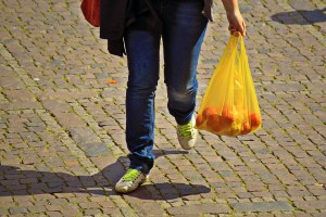 A person carrying a plastic bag