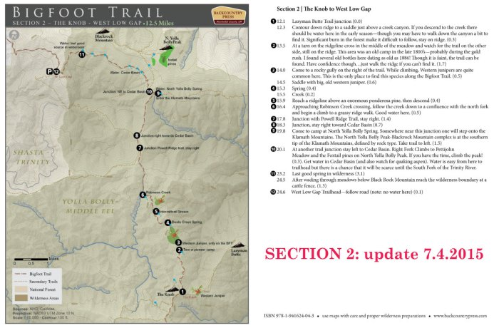 Bigfoot Trail Map Update: Section 2