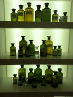 An installation of essence beakers in the Henry Jacques boutique.