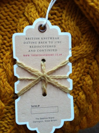 With the best initials I have seen, The Beehive Brand (thebeehivebrand.co.uk) dates all the way back to 1785! Their mustard colour, cable knit jumper is a must have!