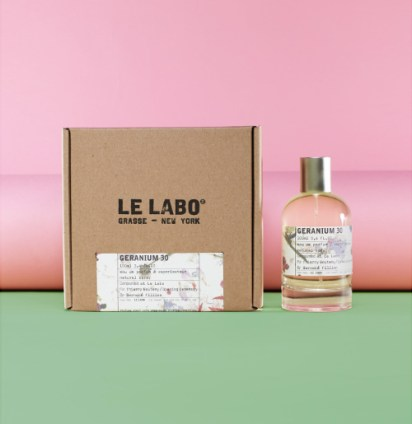 """Geranium 30, Le Labo. Geranium 30 was created by Le Labo's perfumeurs Fabrice Penot and Edouard Roschi together with florist Thierry Boutemy, who created the floral arrangement at Versailles for Sophia Coppola's Marie Antoinette. Inspired by the Petit Trianon, it is described as""""a precarious balance of flowers and spices, creating the permanent feeling of walking in a perfectly arranged mad and wild garden."""" Unfortunately only 100 bottles were launched at Opening Ceremony earlier this year."""