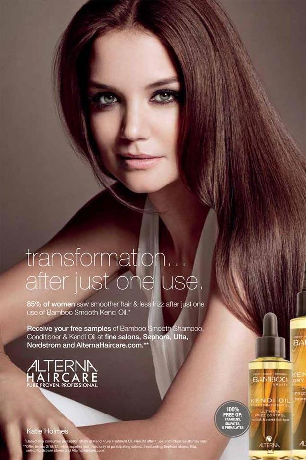 Katie Holmes es la nueva imagen de Alterna Hair Care