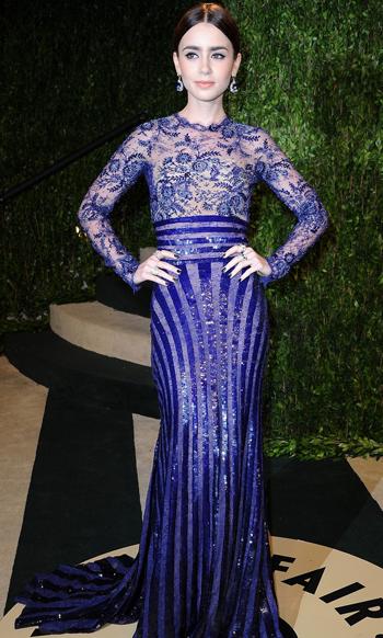 Lily Collins en la Fiesta Vanity Fair