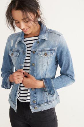 Amour Vert Denim Jacket in Worn Blue, $228, Photo Cred: Amour Vert
