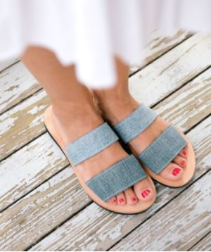Proud Mary Two Strap Denim Sandals, $120 from Kaight Shop, Photo Cred Kaight Shop