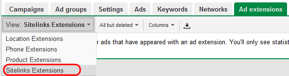 Sitelink Extension Reporting in AdWords