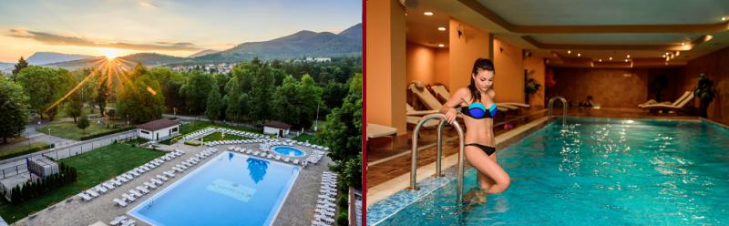 външен и вътрешен минерален басейн на СПА хотел Медикус в Стара Планина