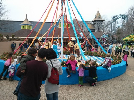 The maypole show in front of Das Festhaus is back this year