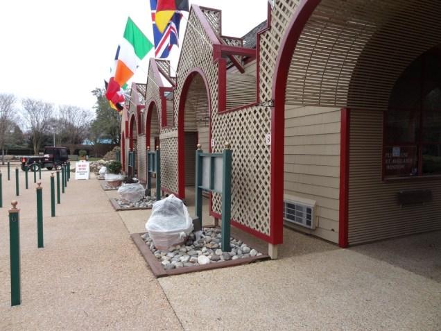 The ticket buildings look freshly painted.