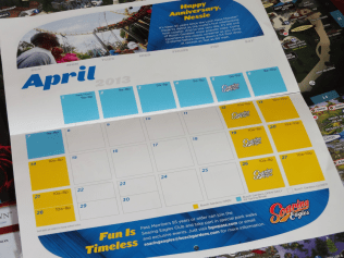 Calendar for April. Notice the top about Loch Ness Monster's 35th birthday