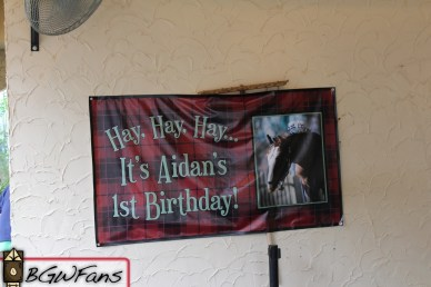 Aidan just has his first birthday about a week ago. The park put up this fancy banner in the Highland Stables as part of the celebration