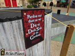 """The fancy """"Pardon our dust"""" sign"""