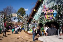 The Bunny Trail arch and the themed Der Marktplatz facade.
