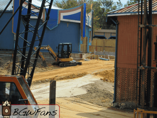 Bit of a closer look at the same area from a different angle. Note the back side of the construction fence