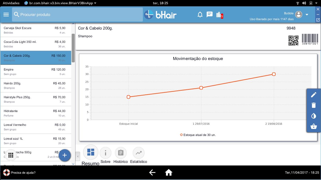Movimentação do estoque bHair app