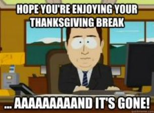 Posts about Monday back from Thanksgiving