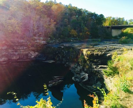 Little River Falls - the waterfall is gone (Oct. 2016). Photo by Pat Byington for Bham Now