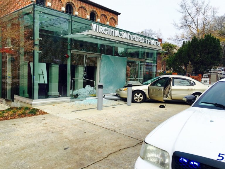 Scene this morning at the front entrance of the Historic Virginia Samford Theatre