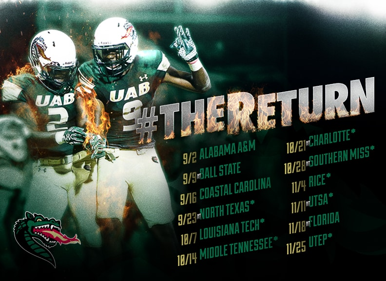 Football Returns UAB Schedule