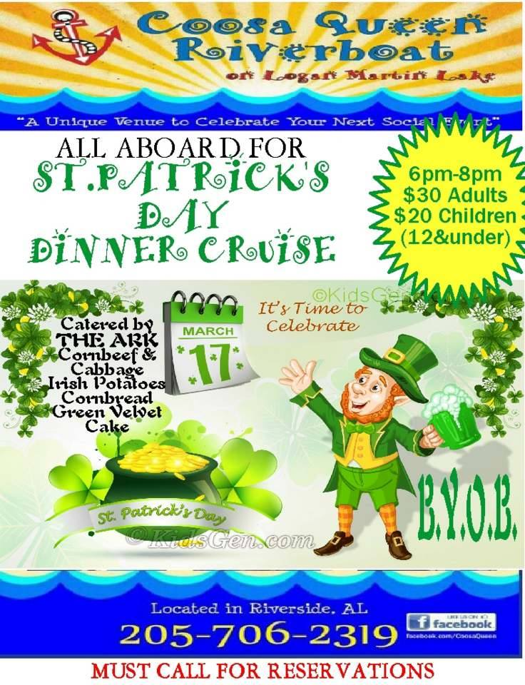 St. Patrick's Day Dinner Cruise hosted by Coosa Queen Birmingham AL River Cruise