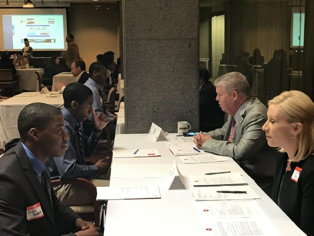 Birmingham 11th graders get coached on interview skills.  Rotarians get coached on students.