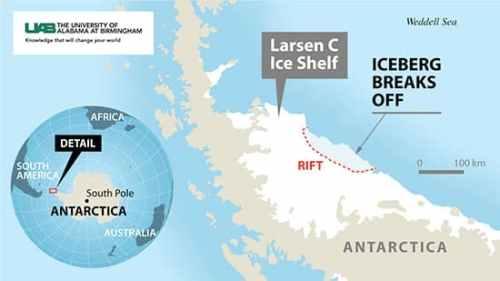 Location of Antarctic Ice Shelf Break from Larsen C Ice Shelf