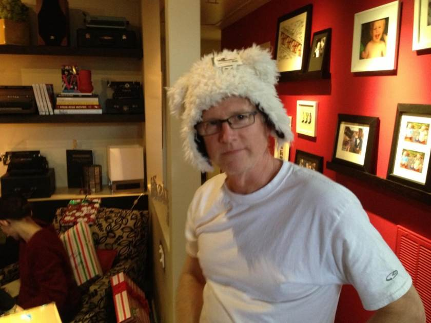 Alan Hunter wearing a silly hat